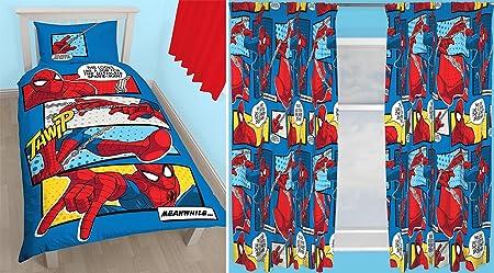 "Justice League Inception Single Duvet Set and Matching 66/"" x 72/"" Drop Curtains"