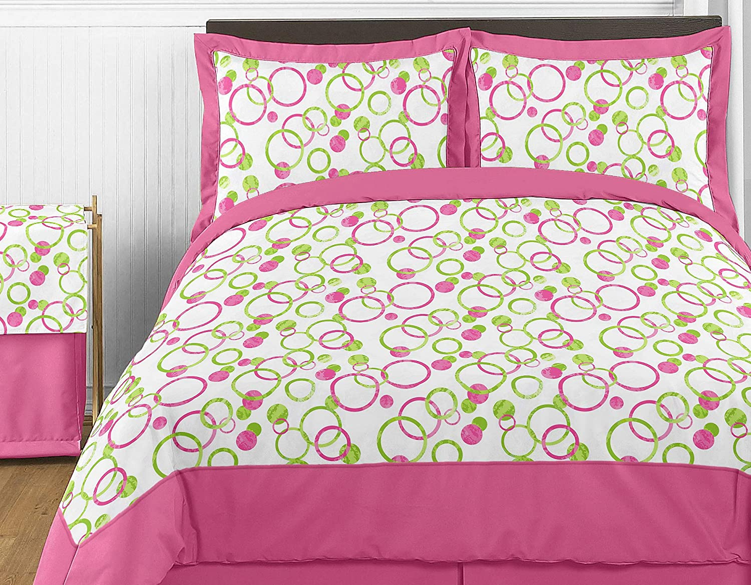 Sweet Jojo Designs Modern Pink and Green Circles Polka Dots Childrens and Teen 3 Piece Full/Queen Girl Bedding Set