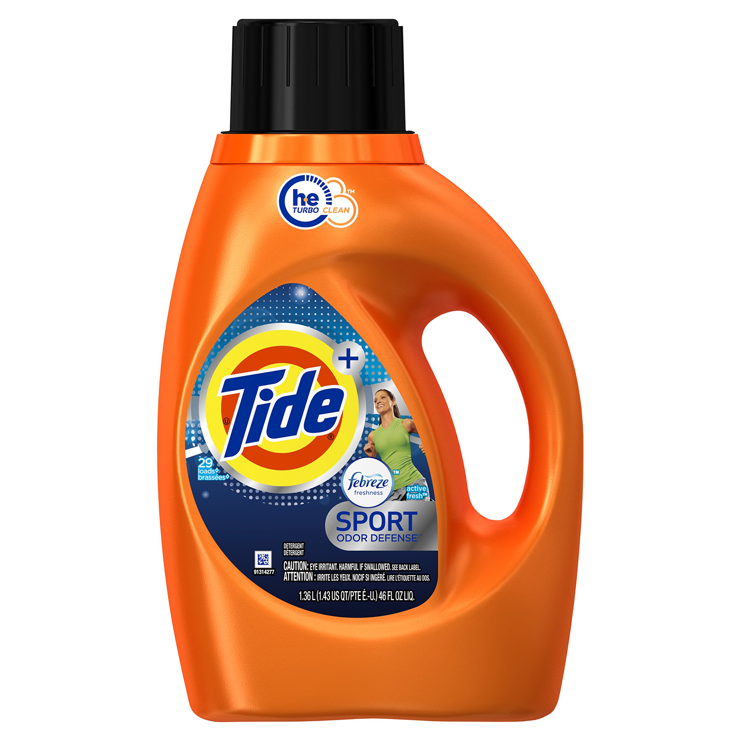 Tide Plus Febreze Fresh Sport Odor Defense HE Turbo Clean Liquid Laundry Detergent, Active Fresh Scent, 1. 36L (29 Loads) - Packaging May Vary