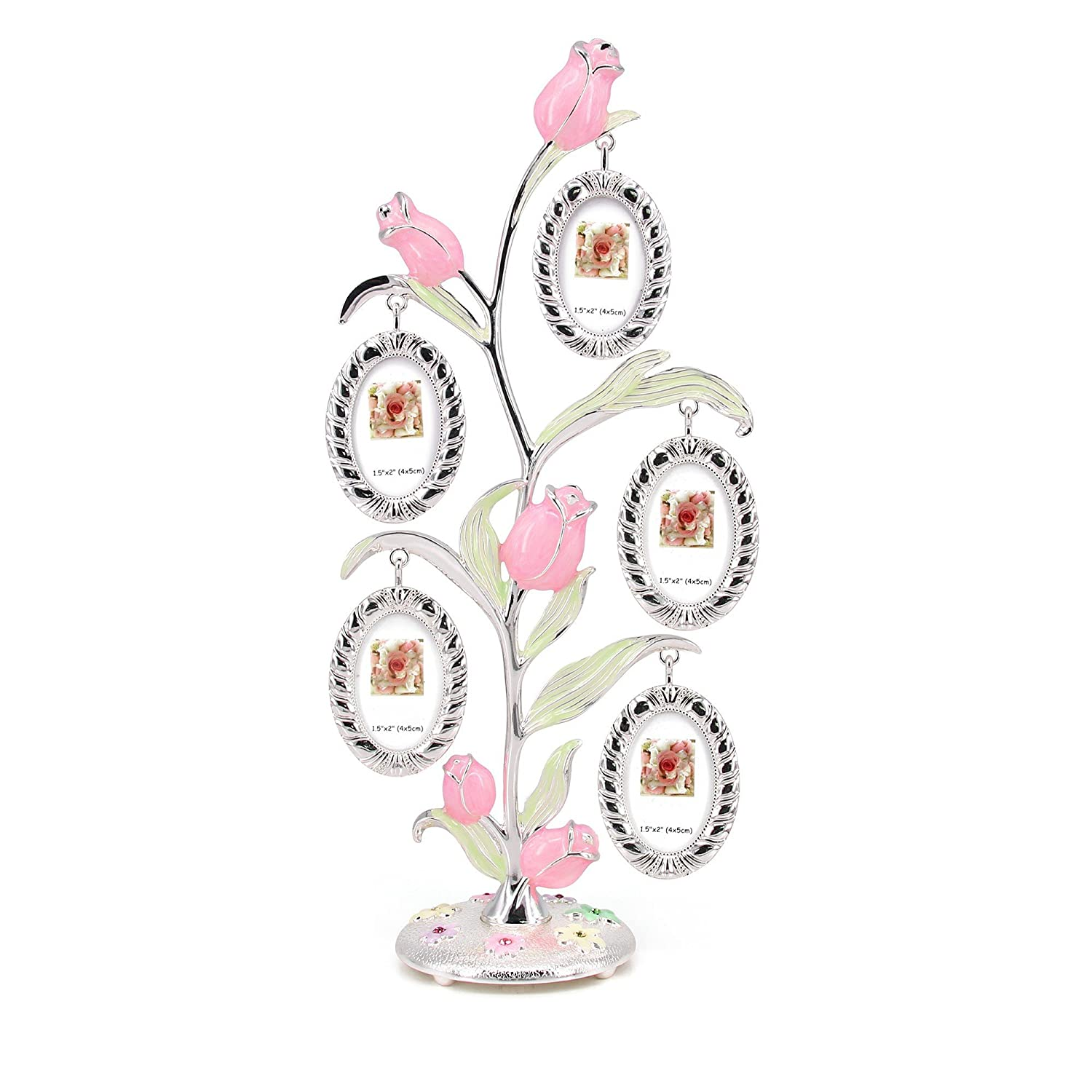 QTMY Metal Family Tree Rose Flower with 5 Hanging Picture Frames Collage Desk Ornaments
