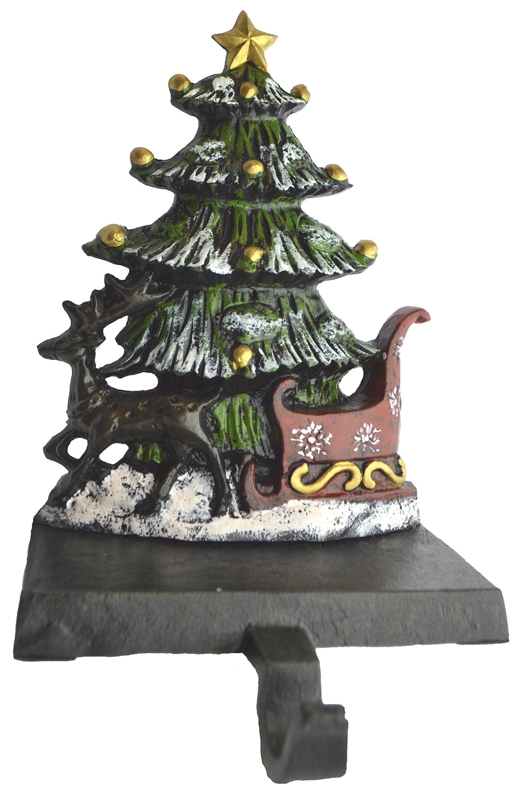 Lulu Decor, Cast Iron Christmas Stocking Holder, Set of 4 hooks, Sleigh with deer, Santa with gifts, House with kids & Snowman with christmas tree (House) by LuLu (Image #5)