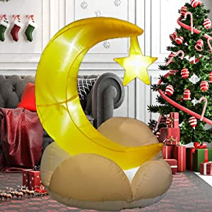 PRAISUN 4Ft Inflatable Yard Decor, Blow Up Lighted Cloud with Moon, Outdoor Indoor Holiday Decorations with LED Lights for Home Lawn