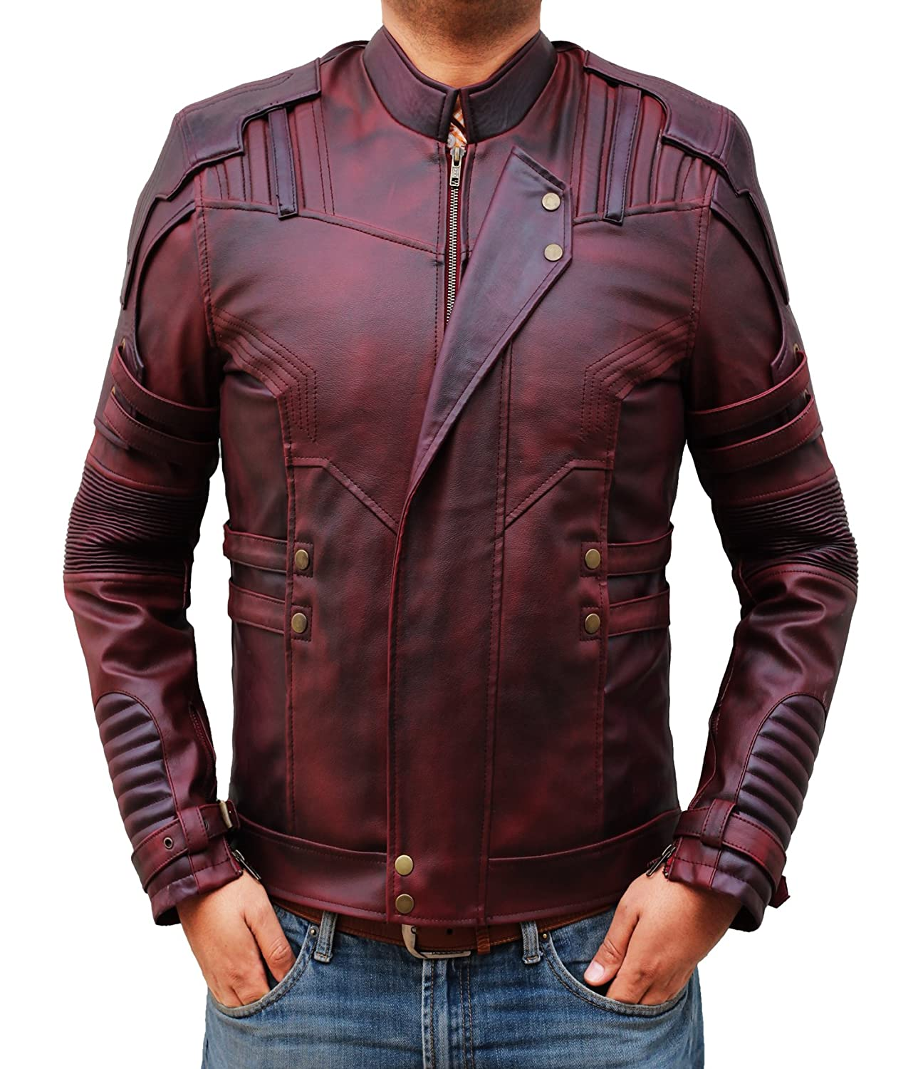 Star Lord Leather Jacket Men's - Chris Pratt Costume Maroon Motorcycle Jacket