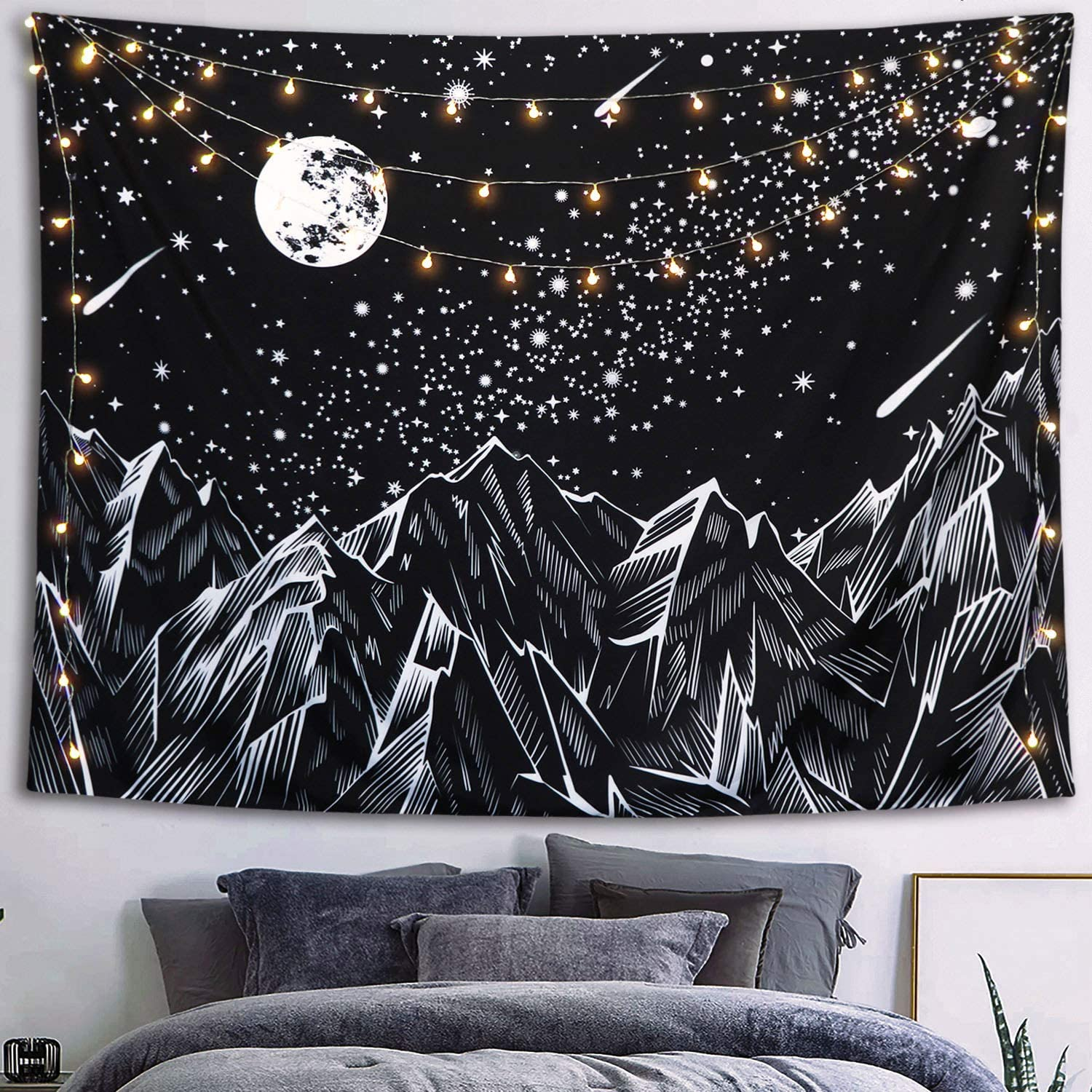 Neasow Moon Mountain Tapestry Wall Hanging, Black and White Nature Starry Night Sky Stars Tapestry with Meteor and Galaxy Bedroom Home Wall Decor 50×60 inches