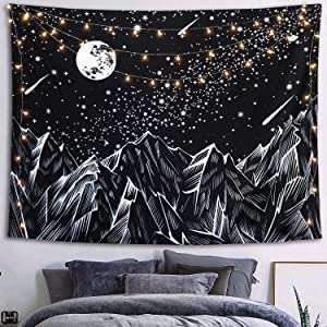 Neasow Moon Mountain Tapestry Wall Hanging, Black and White Nature Starry Night Sky Stars Tapestry with Meteor and Galaxy Bedroom Home Wall Decor 60×80 inches