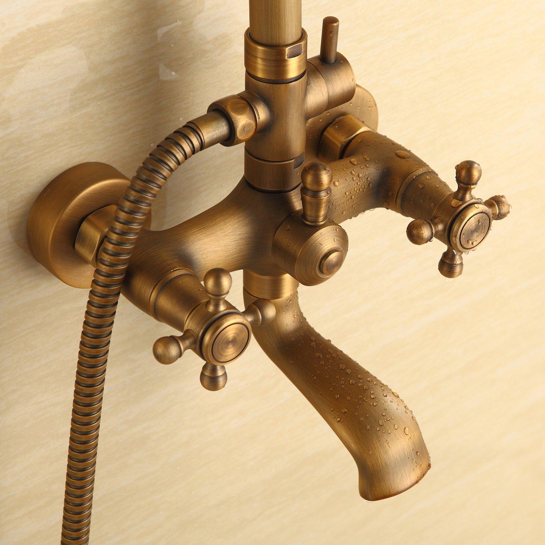3 fori cm con rubinetto a cascata in ottone antico-Colonna doccia con miscelatore e soffione doccia 20,32 8 con 2 manici per vasca da bagno LightInTheBox /® vintage stile retr/ò