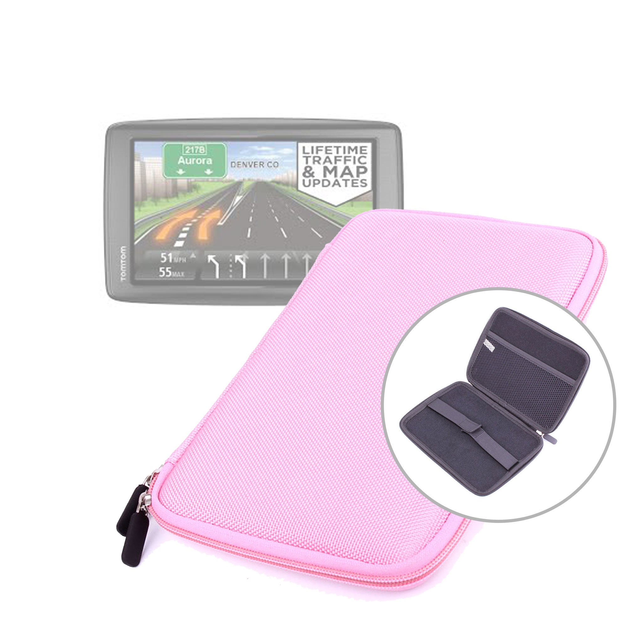 DURAGADGET Pink Shell Hard EVA Cover Case And Cover with Dual Zips for TomTom VIA 1605TM 6-Inch GPS Navigator with Lifetime Traffic & Maps & TomTom VIA 1605M GPS Navigator with Lifetime Maps