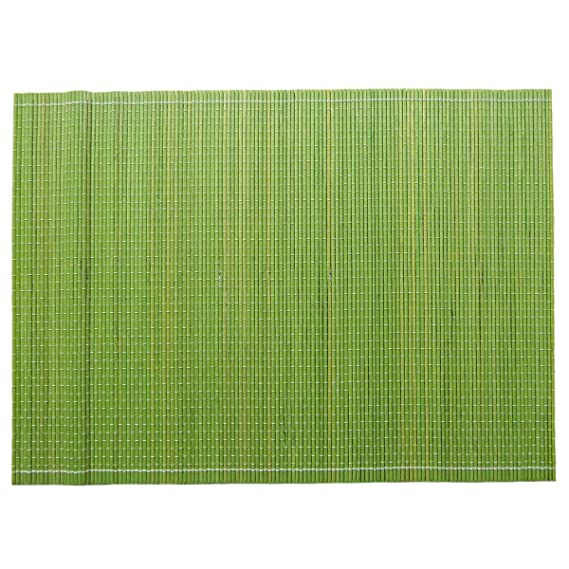 Skipper Rectangular Fine Solid Bamboo 6 Piece Table Mat - Green Place Mats at amazon