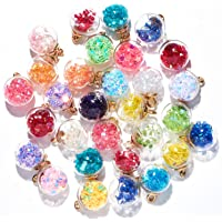 60Pcs Crystal Glass Ball Colorful Charms with Star Dry Flower Rhinestone Dangle Beads Pendant for DIY Earring Necklace…