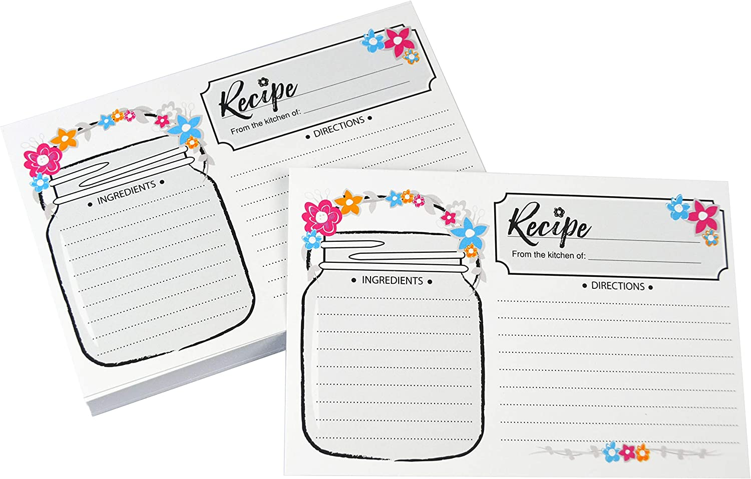 Home Advantage Mason Jar Double Sided Recipe Cards 4x6 (50, Colorful)