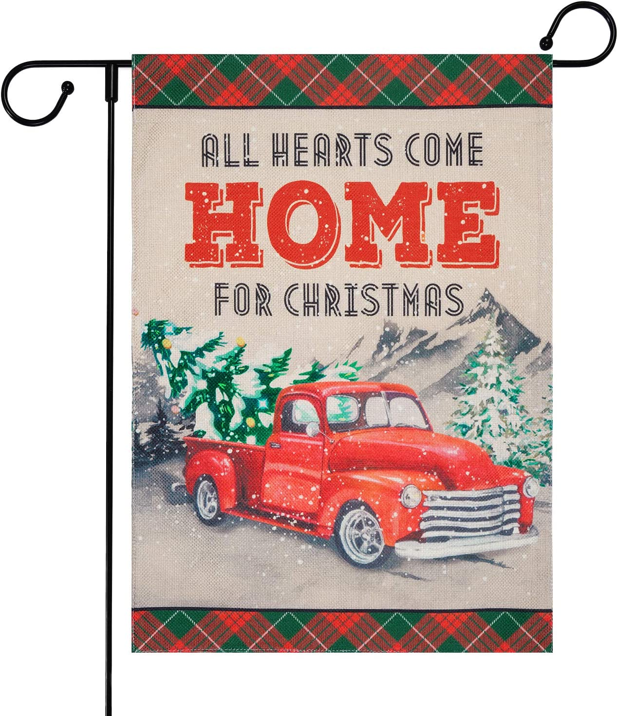 Ikfashoni Christmas Garden Flags for Outside, Double Sided Red Truck Yard Flags, Winter Burlap Garden Yard Decorations, Seasonal Rustic Outdoor Flag, 12.5 x 18