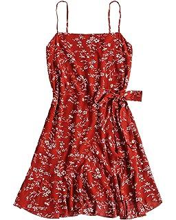 5bcaa44cac0 ZAFUL Womens Mini Dresses Summer Beach Dress Floral Ruffles V Neck Wrap  Dresses