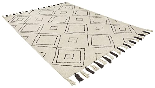 Rivet Diamond Trellis Tassel Wool Rug, 7 6 x 9 6 , Ivory