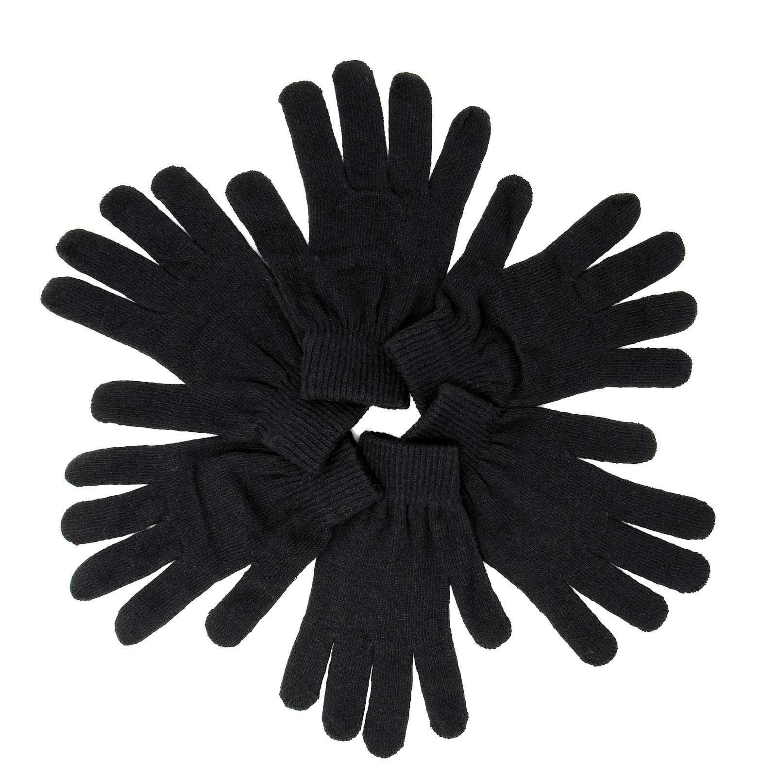 Wholesale Adult Kids Magic Winter Knit Gloves 12 Pair (Black)