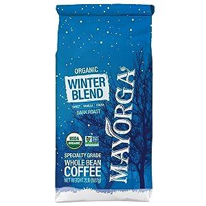 Mayorga Organics Winter Blend, 2lb Bag, Dark Roast Whole Arabica Bean Coffee, Specialty-Grade, USDA Organic, Non-GMO Verified, Direct Trade, Kosher, Limited Edition