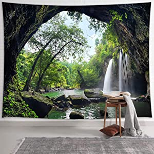 NYMB Waterfall Tapestry Mountain Cave Tapestry Wall Hanging, Nature Landscape with Green Forest Tapestries, Tree Tapestry Wall Deocr for Bedroom Living Room Dorm