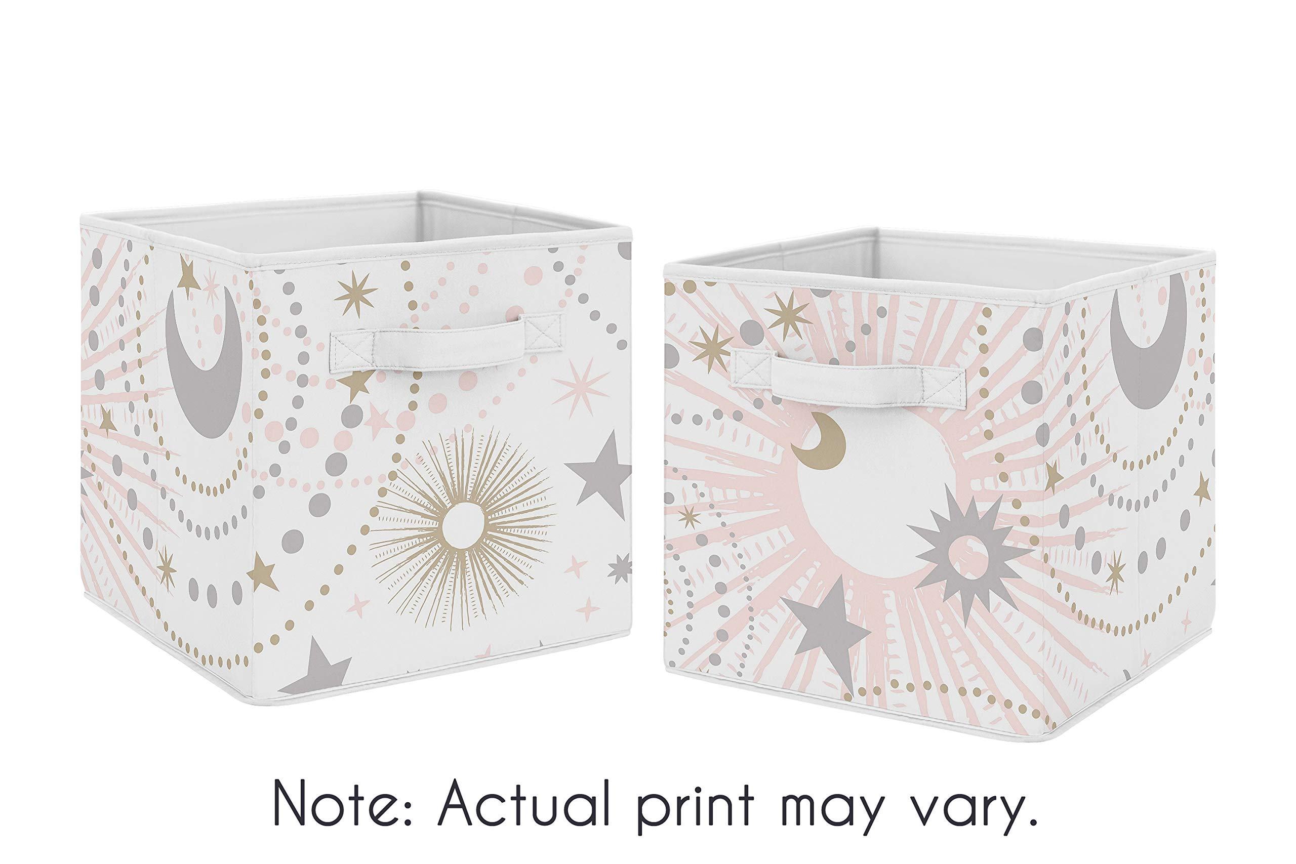 Sweet Jojo Designs Blush Pink, Gold and Grey Star and Moon Organizer Storage Bins for Celestial Collection - Set of 2 by Sweet Jojo Designs