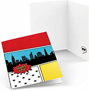 Big Dot of Happiness Bam Superhero - Baby Shower or Birthday Party Thank You Cards (8 Count)
