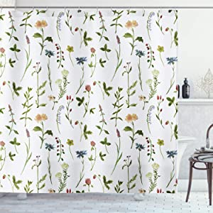 AMBZEK Spring Floral Watercolor Shower Curtains Garden Wild Flowers Green Leaves Plants Artwork Cloth Fabric Bathroom Decor Set with 12 Pack Hooks 60