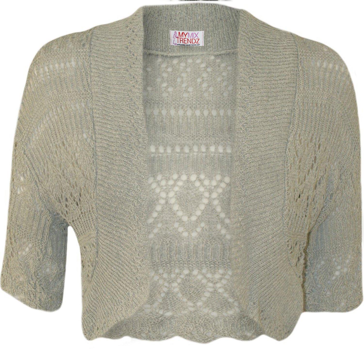 MyMixTrendz - Womens Crochet Knit Midi Sleeve Bolero Shrug (UK 12-16 (EU 40-44 US 8-12), Silver Grey)