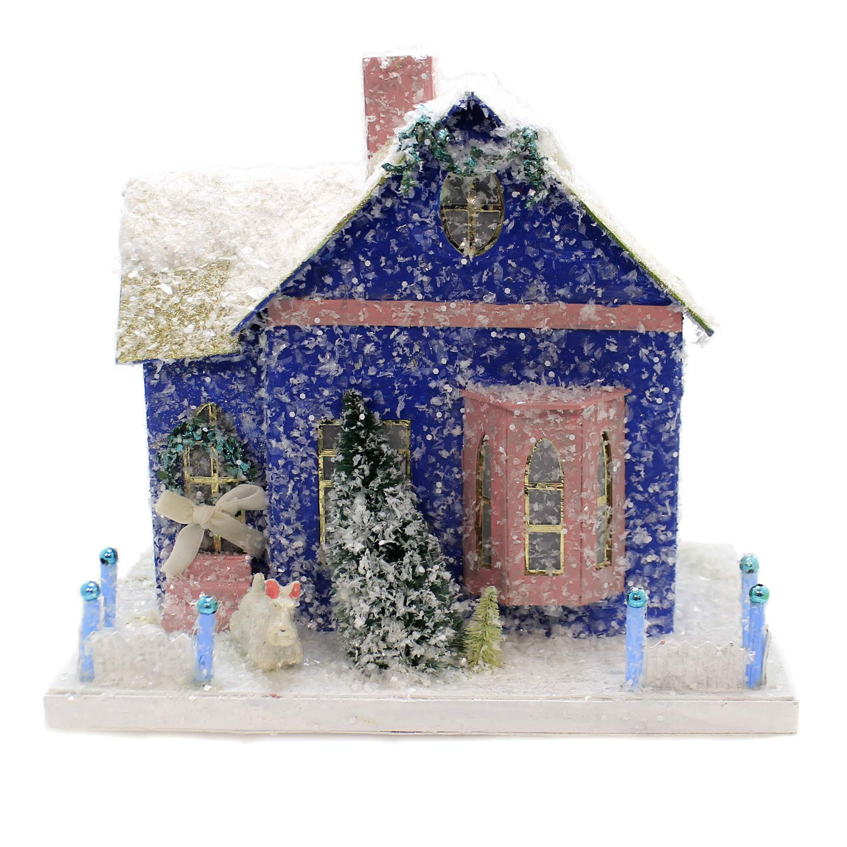 Cody Foster Periwinkle Cottage Paper Mache Christmas Putz Light Up Hou272