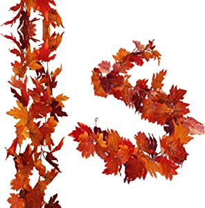 2 Pack Fall Maple Garland - 5.9ft Artificial Autumn Vines Mantle Wreath Hanging for Thanksgiving Wedding Christmas Fireplace Home Party Decor (Red Maple)