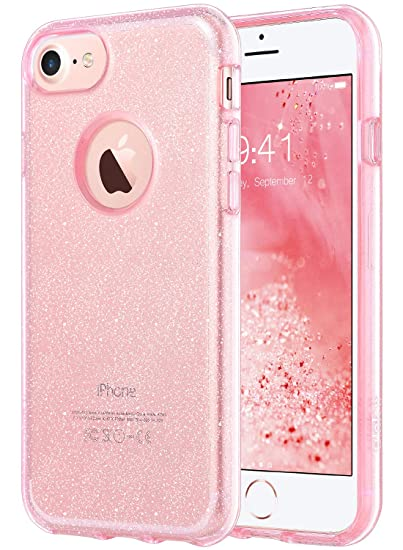 huge selection of 9468d 67a39 ULAK iPhone 8 Clear Glitter Case, iPhone 7 Case See Through, Crystal Clear  Slim Fit Protection Shockproof TPU Bumper Cover for Apple iPhone 7/8 4.7 ...