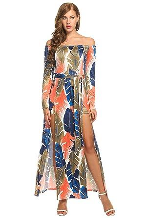b520fad033b5a Floral Beach Dress, Womens Sexy Off Shoulder Long Sleeve Print High Slit  Maxi Beach Dress