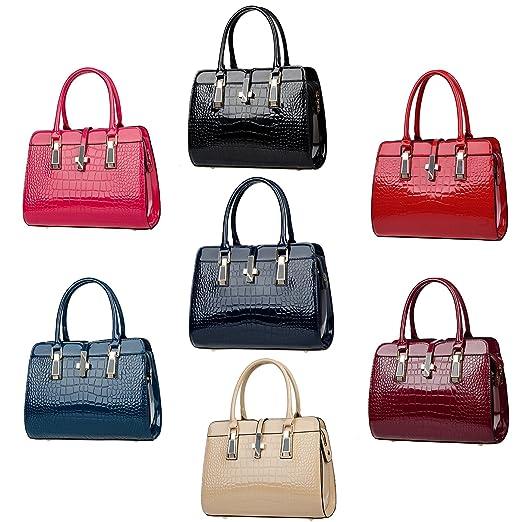 4f94a0efc7 Tisdaini Sac à main femme mode crocodile motif peau côté brillant de l'épaule  Messenger bag sac en cuir de haute qualité en cuir de portefeuille:  Amazon.fr: ...