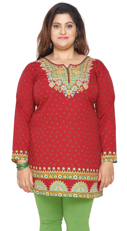 Women's Plus Size Indian Kurtis Tunic Top Printed India Clothing Eplus112p