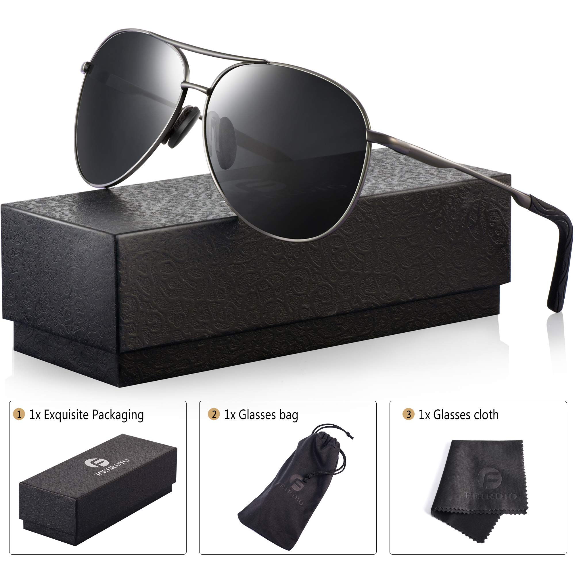 Polarized Aviator Sunglasses for Men - Feirdio Metal Frame Sports UV 400 Protection Mens Unisex Sunglasses 2261 (black/Gun, 2.36)