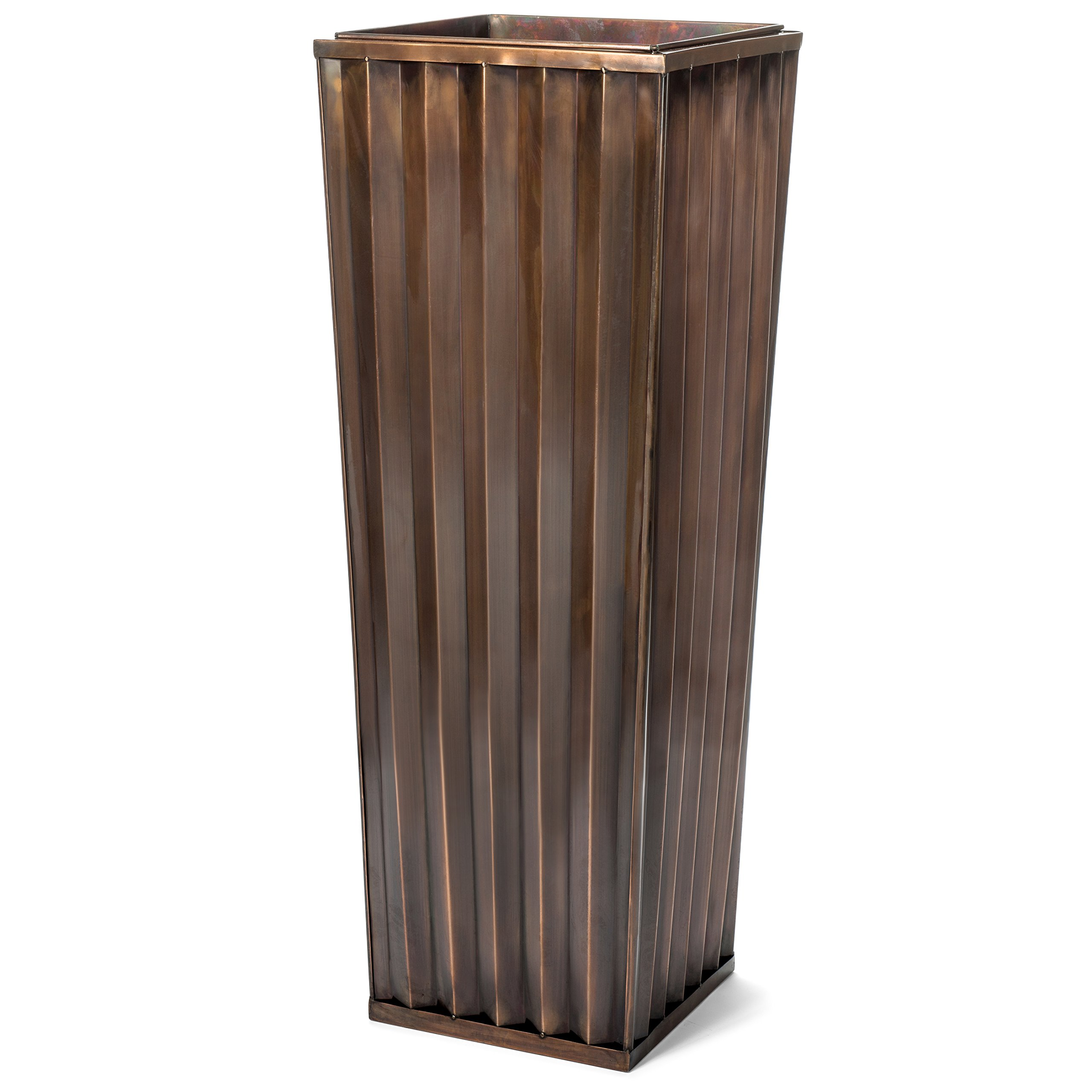 H Potter Tall Outdoor Indoor Planter Patio Deck Flower Ribbed Garden Planters Antique Copper Finish (SMALL)
