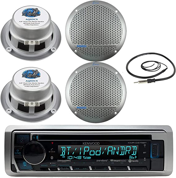 New Silver Marine Boat Yacht Detachable Face Stereo 4 Dual Cone Black Speakers