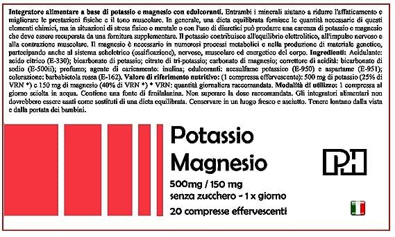 POTASIO MAGNESIO PH 500 mg/150 mg para disminuir el cansancio y mejorar el rendimiento físico: Amazon.es: Salud y cuidado personal