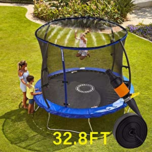 Bonamour Trampoline Sprinkler, Outdoor Trampoline Water Sprinkler Toys for Kids, Fun Summer Water Game Yard Toys (32.8FT)