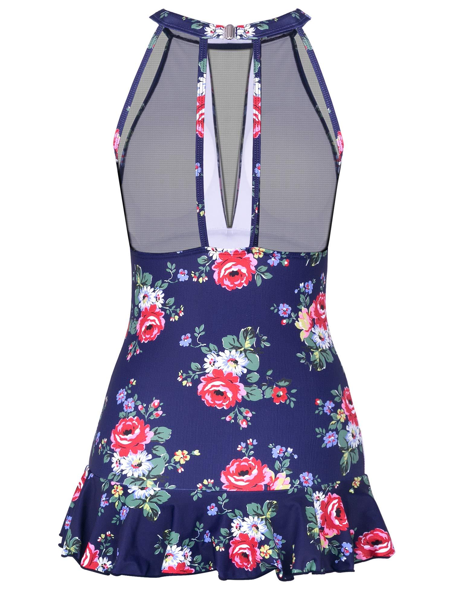 MarinaVida Women\'s One Piece Swimsuits V-Neck Mesh Shaping Swimwear Ruched Monokini Tummy Control Skirted Bathing Suits