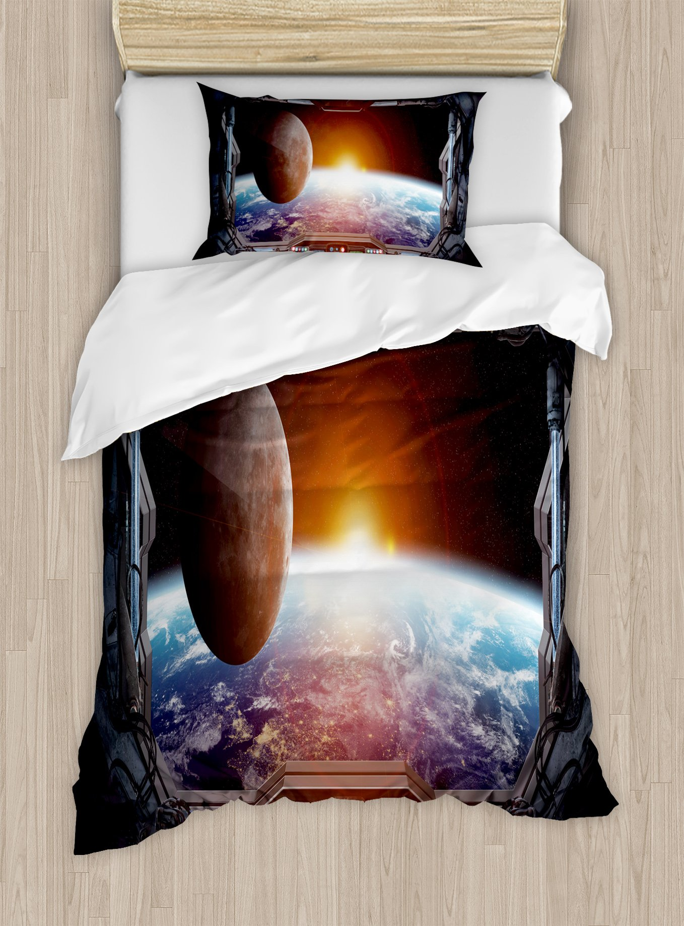 Ambesonne Outer Space Duvet Cover Set Twin Size, Window View from Spaceship Station to Universe Celestial Discovery Fiction Art, Decorative 2 Piece Bedding Set with 1 Pillow Sham, Grey Black