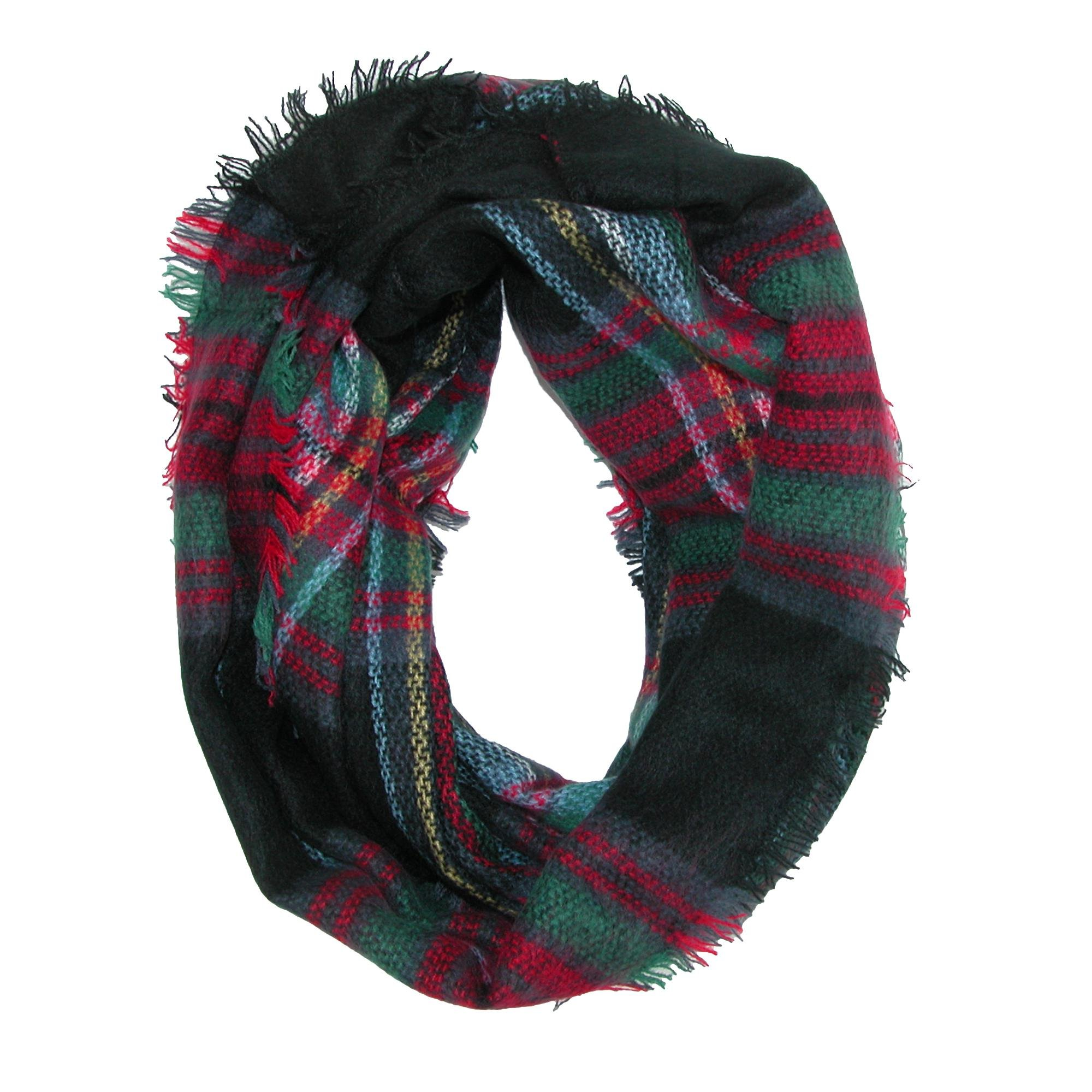 CTM Women's Classic Plaid Check Pattern Infinity Loop Scarf, Black