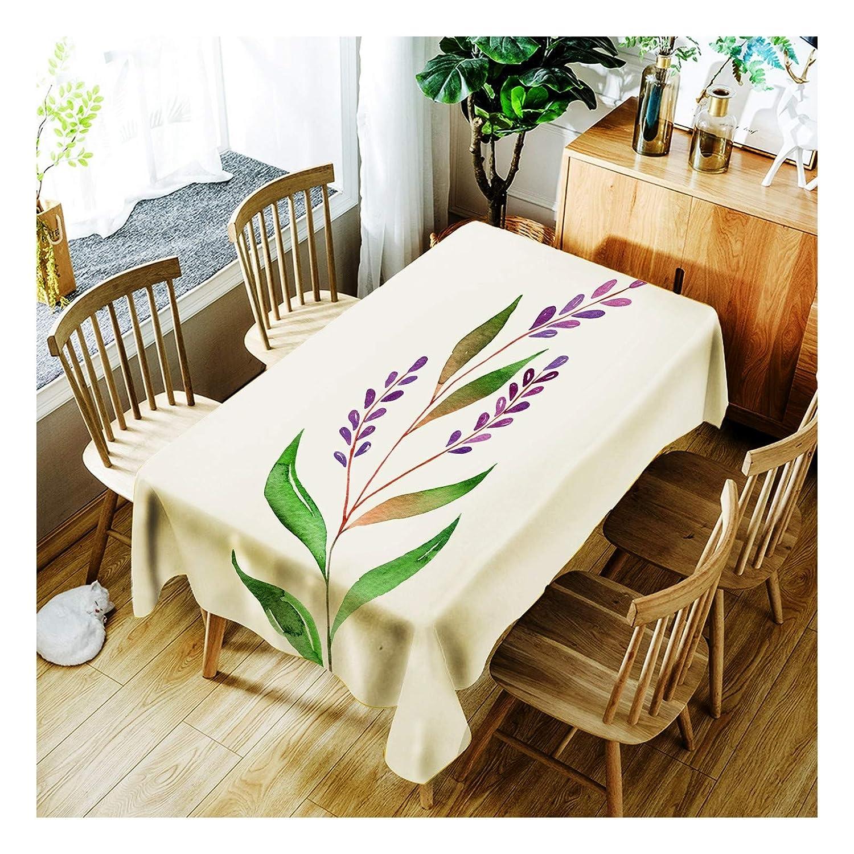 ZHAOXIANGXIANG Lavable Minimalista Elegante Cuadro Mat Hermosas Flores Púrpura Patrón Decoracion Un Mantel,90Cm×130Cm