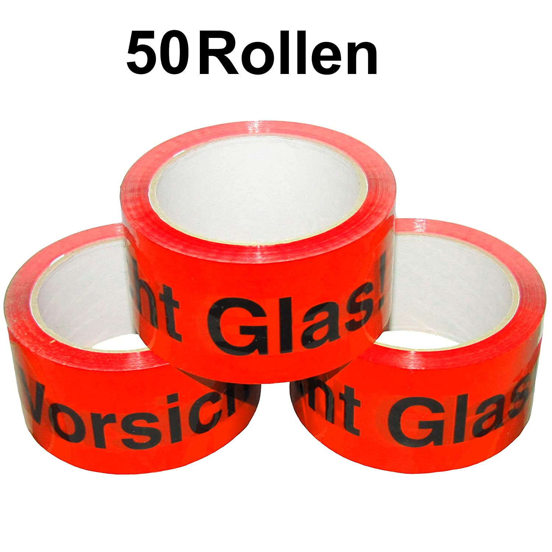 50 Rollen Premium Klebeband Packband Paketband Paketklebeband Vorsichtig Glass