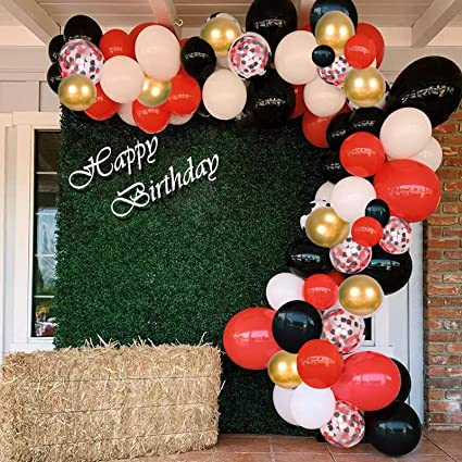 Amazon Com 125pcs Gold Black Red Confetti Balloon Arch Garland Kit White Balloons For Graduation New Year Party Wedding Birthday Baby Shower Decorations Toys Games