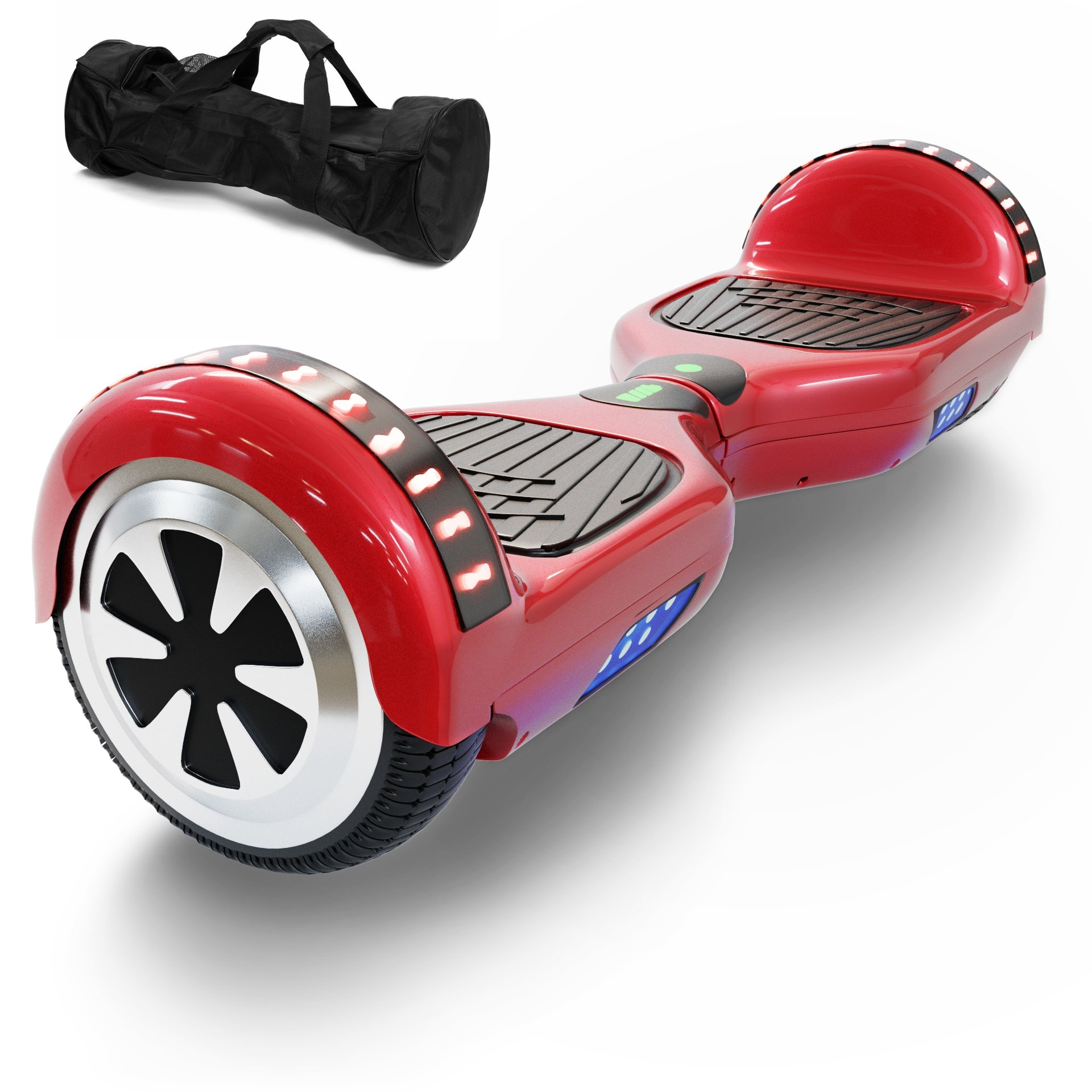 Hoverboard Self Balancing Scooter UL 2272 Certified with Powerful Bluetooth Speaker, Cool LED lights and FREE Portable Carrying Bag (Lava Red) by CXInWalk