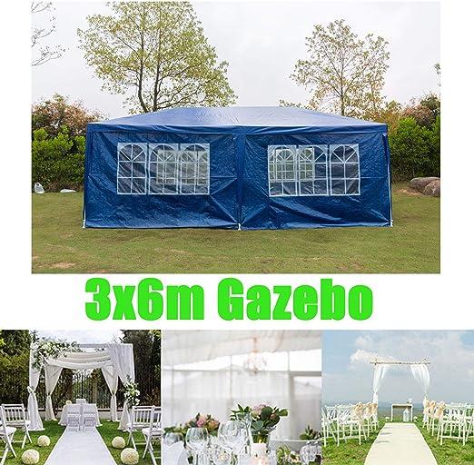 Huini - Cenador de 3 x 6 m para jardín, Fiesta, Boda, Picnic, Barbacoa, Tienda de campaña, toldo con Paneles Laterales, fácil de Montar, Color Blanco/Azul/Verde, tamaño Blue: Amazon.es: Jardín