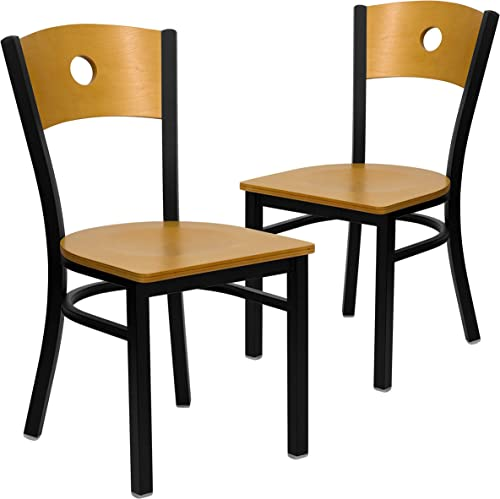 Flash Furniture 2 Pk. HERCULES Series Black Circle Back Metal Restaurant Chair