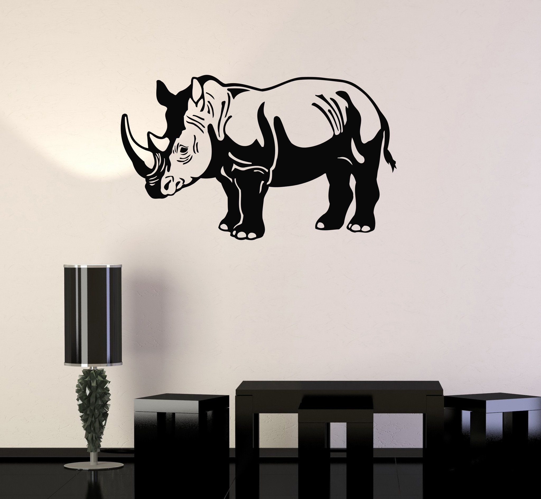 Large Vinyl Decal Rhino Animal Zoo Children Room Decor Wall Stickers (ig144) Grey by Wallstickers4you