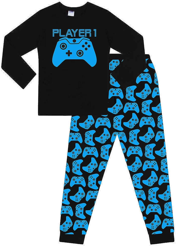The PyjamaFactory Pyjama Long en Coton pour gar/çons et Filles Motif Joueur 1 Manette de Jeu Bleu