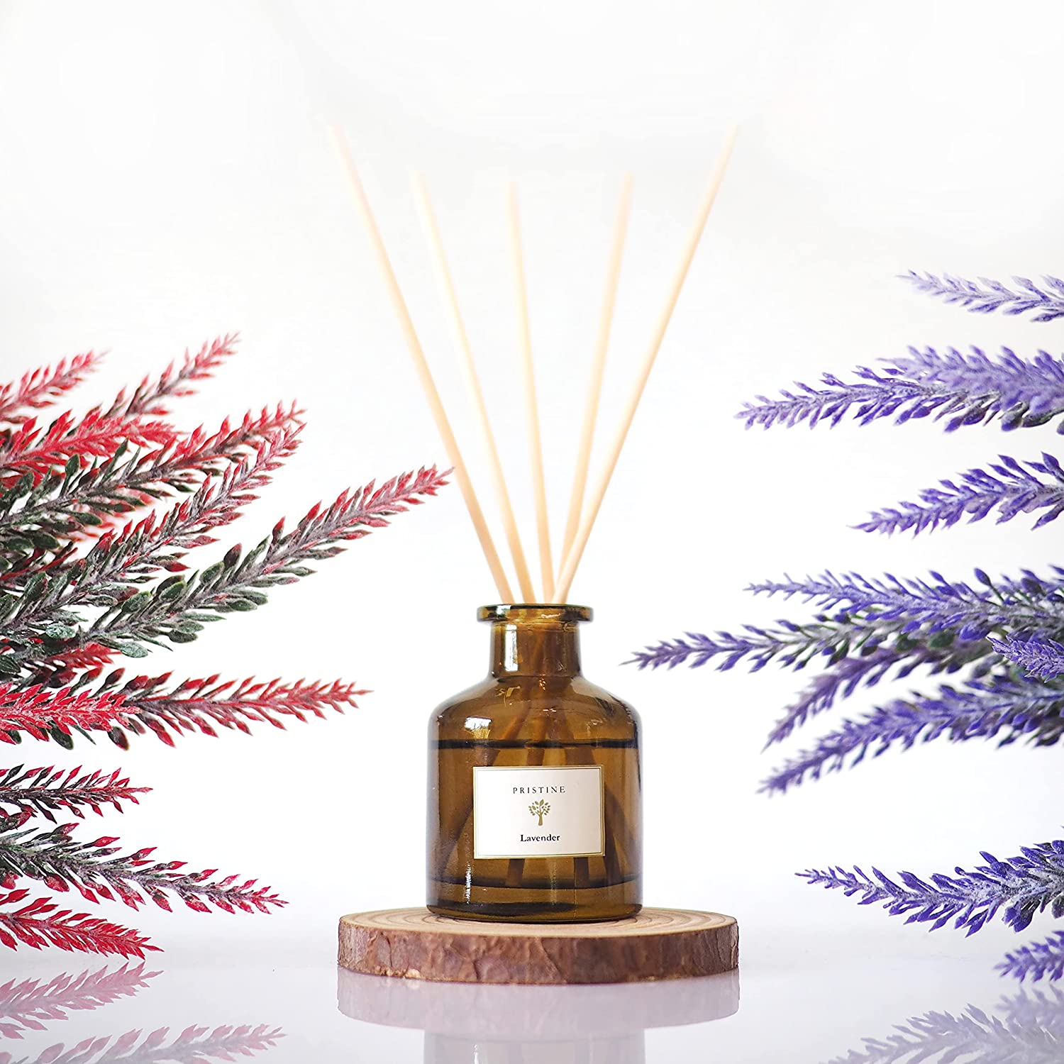 PRISTINE Lavender Reed Diffuser Set | Reed Oil Diffuser Sticks, 1.6oz | Aromatherapy as a Means for Insomnia & Relaxation| Aromatic Oil Sticks as Best Home Fragrance Product | Provide Enduring Effect