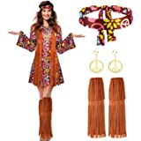 Women Hippie Costume Set Peace Sign Earring Necklace Headband Dress Ankle Socks
