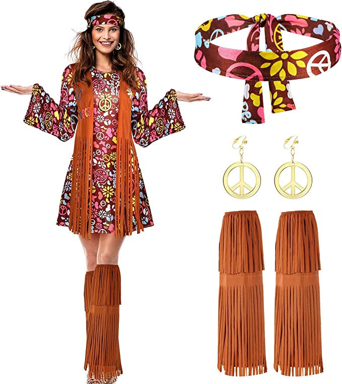Hippie Dress | Long, Boho, Vintage, 70s Women Hippie Costume Set Peace Sign Earring Necklace Headband Dress Ankle Socks $35.99 AT vintagedancer.com