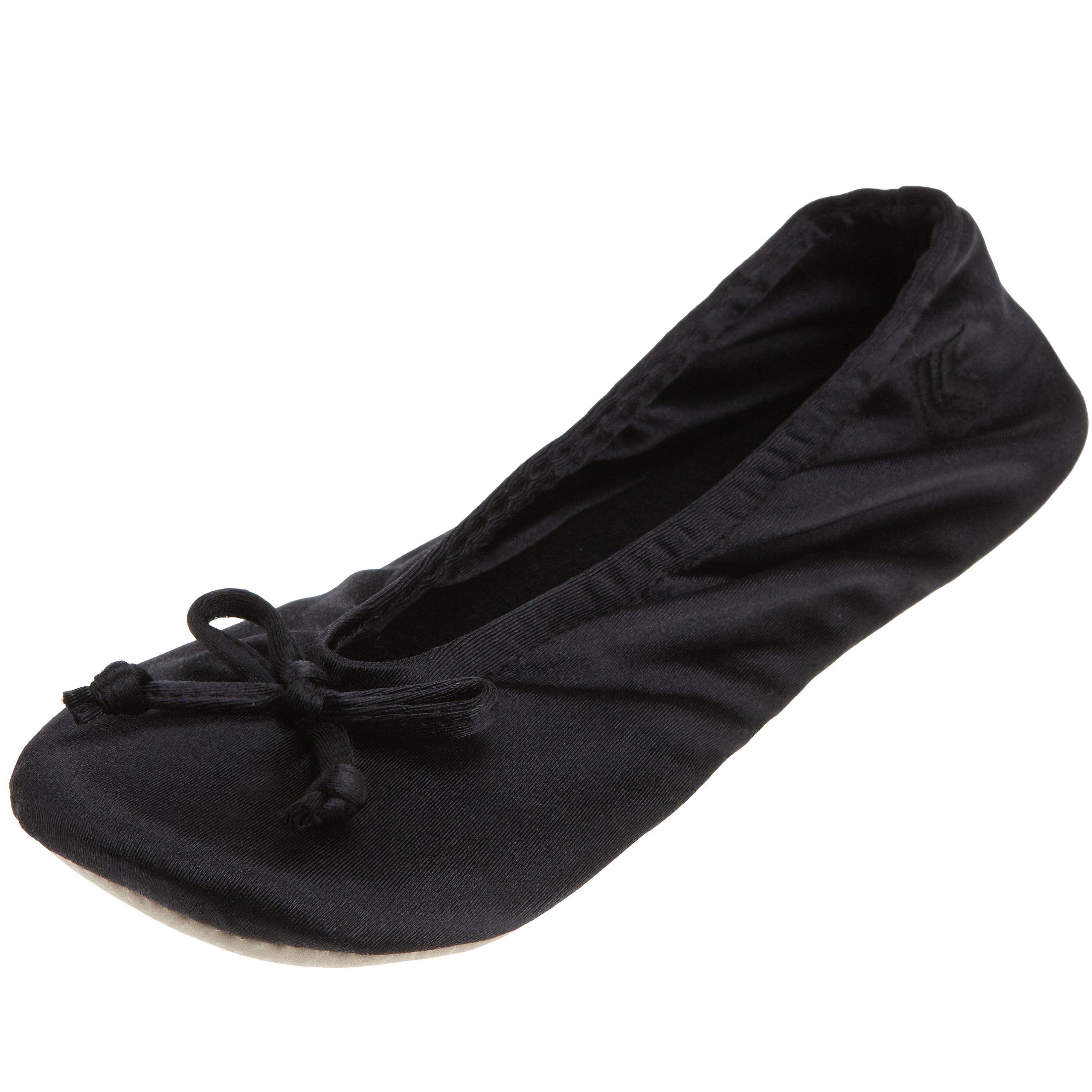 ISOTONER Women's Classic Satin Ballerina Slipper, XL Black